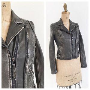 PINK TARTAN vegan leather distressed biker jacket.